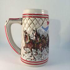 Budweiser Christmas Stein Ltd Ed Ceramic 1985 Winter Clydesdale Horses Vintage
