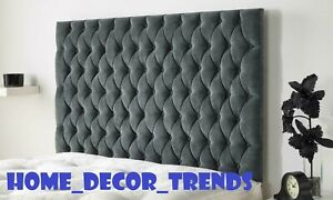 """HEADBOARDS 40"""" INCH HIGH TRADITIONAL DESIGN BUTTONS CHENILLE ALL COLOURS"""