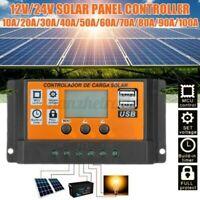 10A-100A 12/24V LCD Doppia USB Pannello Solare Batteria Regolatore di Carica
