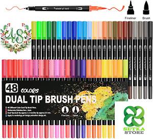 Dual Brush Pen Lettering, Olkoy Set di 48 Pennarelli con Doppia Punta (Contiene