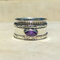 Amethyst 925 Sterling Silver Spinner Ring Meditation Statement Jewelry A52