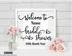 Welcome to Bridal Shower Personalised Sticker for IKEA RIBBA BOX FRAME name/date