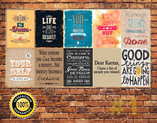 Job Lot 10 x METAL TIN SIGN WALL PLAQUE INSPIRATIONAL SAYINGS & QUOTES #1