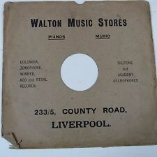 "12"" 78rpm gramophone record sleeve WALTON MUSIC STORES County Rd Liverpool"