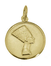 Real 10K Yellow Gold Egyptian Egypt Queen Nefertiti Round Pendant Charm Jewelry