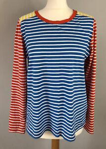 NEXT Size 14 Long Sleeve Top Stripe Blue White Orange Yellow Walking Autumn