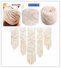 4/5/6mm Macrame Rope 100% Natural Beige Cotton Twisted Cord Artisan DIY Craft