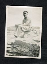 c1930s Photo: Man Sitting on a Rock in Casual