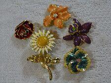 Joan Rivers gold-tone changeable enamel flower pin - set of six, 5 flowers