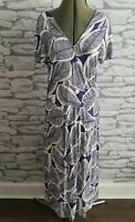 Hobbs leaf pattern jersey wrap effect dress size 14 uk white purple women's