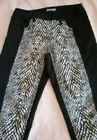 KOOKAI BLACK AND SNAKESKIN PRINT SKINNY STRETCH JEANS SIZE 36 AUS 8 .