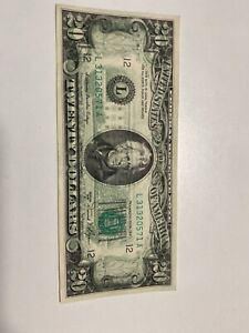 Error 1981 A $20 Federal Reserve Note Wet Ink Full Back To Front Transfer ,Rare!