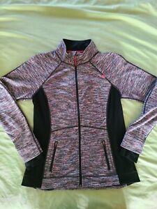 Tangerine Womens Active Long Sleeve Medium M Track Zip Up Jacket, Black and Pink