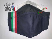 PACK Mascherina Mascherine 100% DOPPIO COTONE ITALIA BLU NERO BIANCO