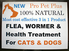Pro PET Plus 3 in 1 Natural FLEA WORMER HEALTH TREATMENT for Cats Dogs - powder