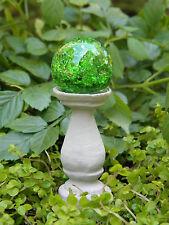 Miniature Dollhouse Fairy Garden ~ Green Glass Gazing Ball Pick ~ New