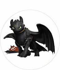 Toothless Night Fury Cake Topper - 8 Inch Round - Icing  - Personalised -