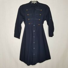 Bailey Blue Military Style Buttoned Dress 3/4 Sleeve Tie Waist Blue Size S B417P