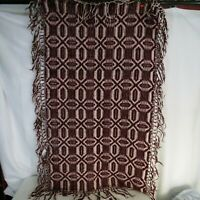 Antique Jacquard Coverlet Maroon Fringed Small