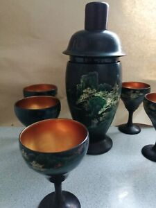 Vintage Chinese LACQUER COCKTAIL SET Shaker 6 Goblets set bar collectors hobby