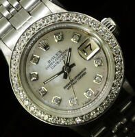 Rolex Ladies Datejust Oyster Perpetual Stainless Steel Diamond Bezel Dial Watch