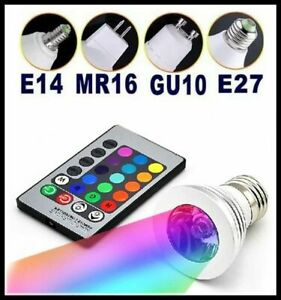 RGB LED Bulb E27 E14 GU10 3W 85V-265V 16 Color Changing Lamp With Remote Control