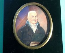 VERY EARLY 19th Century MINIATURE Watercolor Mix Media PAINTING Elder Statesman