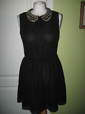 LADIES SIZE 10 BLACK CHIFFON DRESS WITH GOLD CHAIN LINK COLLAR BY GLAMOROUS
