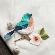 2pcs Fashion Flower Craft Sewing Embroidered Sew/Iron On Applique Patch Birds H