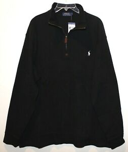 Polo Ralph Lauren Mens Black White Pony 100% Cotton 1/2 Zip Sweater NWT Size L