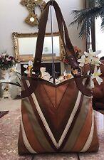 LUCKY BRAND Large Patchwork MultiColor Leather Satchel Shoulder Bag Purse EUC
