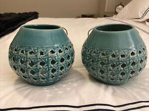 2 Pottery Barn light aqua blue ceramic lanterns
