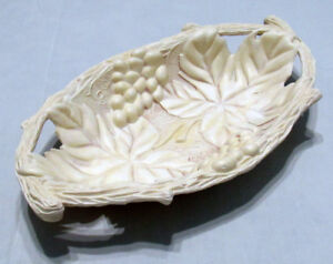 Plate Vase Fruit Bowl Ivory Vintage Soviet made in USSR