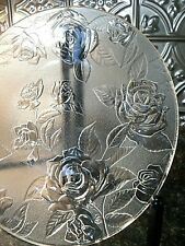 """13.5"""" ETCHED ROSES Glass Round PLATTER Floral Flowers TRAY Serving Dish BOWL"""