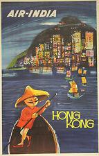 """""""AIR-INDIA (HONG KONG)"""" Affiche Indienne originale entoilée années 50"""
