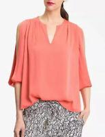 Diane Von Furstenberg Size 4 Astor Cold Shoulder Silk Blouse Top Keyhole Orange