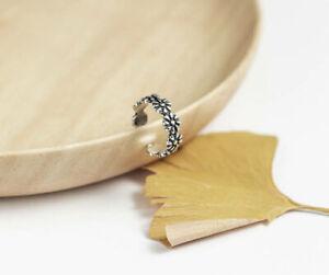 T04 Ring Blümchen Blumenkranz 925 Sterling Silber größenverstellbar