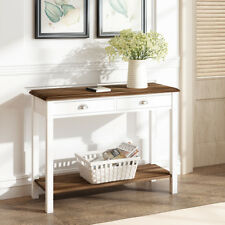 Console Table  2 Drawers Double Telephone Table Hallway Canterbury White UK