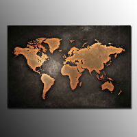 Ready to hang canvas print wall art painting vintage rock world map framed canvas art print brown world map wall art canvas painting for living room gumiabroncs Image collections