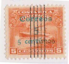 (CRA-72) 1911 Costa Rica 5c on 5c orange Liner Antilles (A)