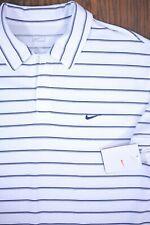 NWT Nike Performance Polo Shirt White Navy Stripe Men's Large L