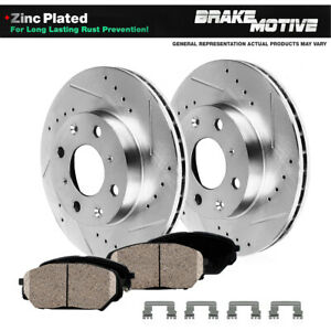 Front Drill Slot Brake Rotors & Ceramic Pads For 2016 2017 2018 Chevy Spark