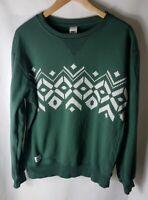Mens ADDICT Jumper Large L Green White Crew Neck Sweater Sweatshirt Long Sleeved