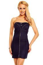 Minikleid Partykleid Bandeau Sommerkleid Cocktailkleid Stetchkleid Zip Kleid