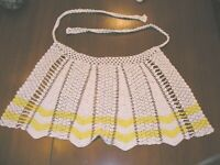Vintage (1950's) Hand Crocheted Yellow/White Hostess Apron