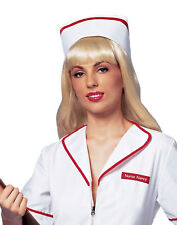 Red White Deluxe Nurse Hat Adult Womens Halloween Costume Accessory