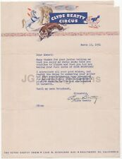 Clyde Beatty - Famed Circus Impresario - Signed Letter (TLS), 1951