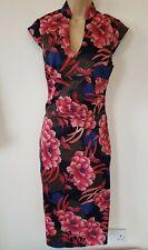 Karen Millen Pink Guipure Lace Drape Dip Hem Party Cocktail Ascot Dress 8 /& 10