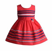 Cinda Girls Red Striped Cotton Summer Party Dress 3-4 Years