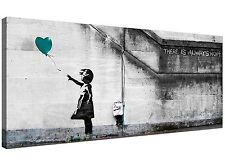 Cheap Teal Canvas Wall Art of Banksy Balloon Girl